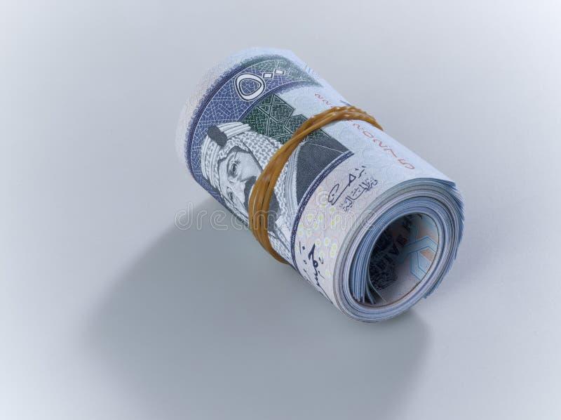 Rolle von Saudi Riyal-Banknoten von 500 lizenzfreie stockbilder