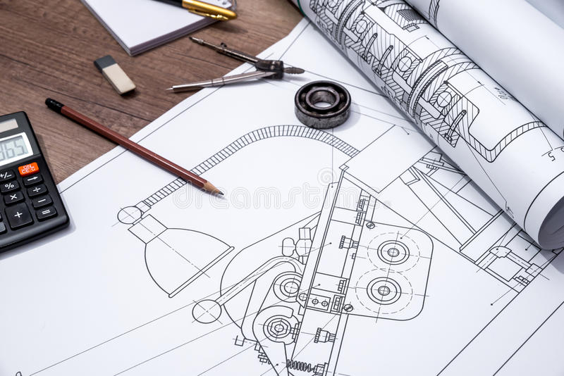 Rolle von Zeichnungsplänen stockfoto. Bild von zeichnung - 70114712