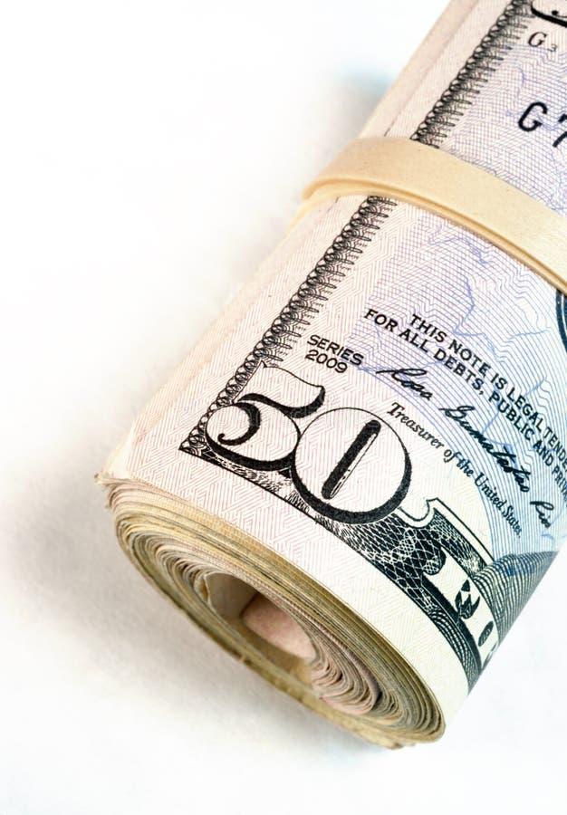 Rolled Banded Wad Fifty Dollar Bills American Money Cash ...