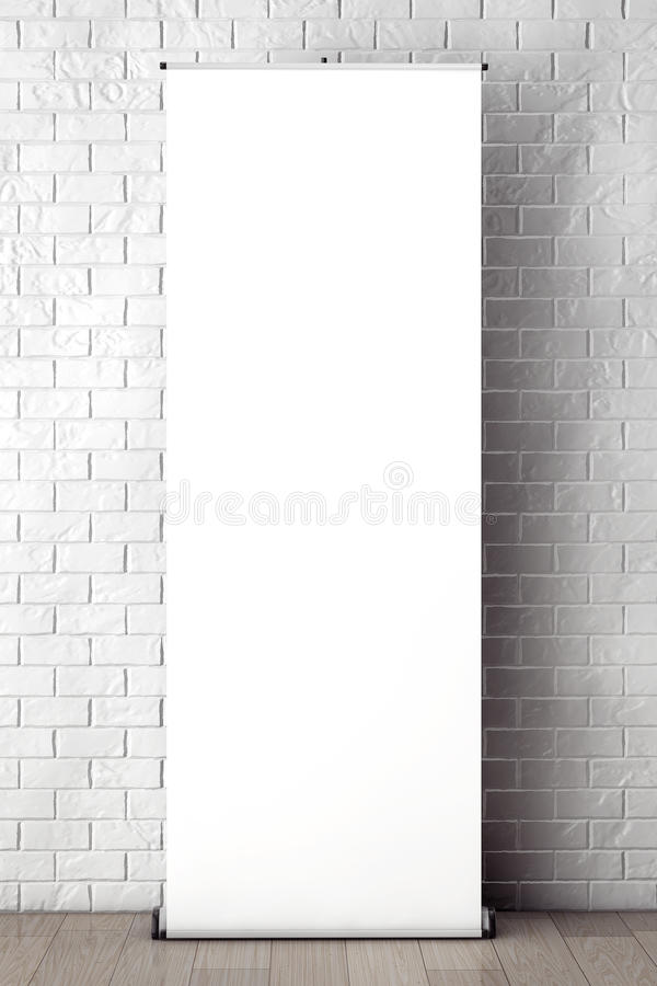 Rolled Banner Promotion Stand in front of Brick Wall with Blank. Frame extreme closeup stock images