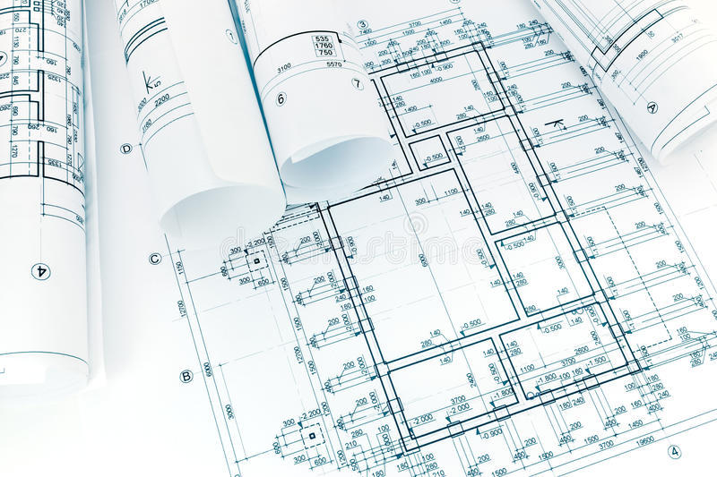 Rolled building plans on architectural blueprint background stock download rolled building plans on architectural blueprint background stock image image 93202295 malvernweather Images