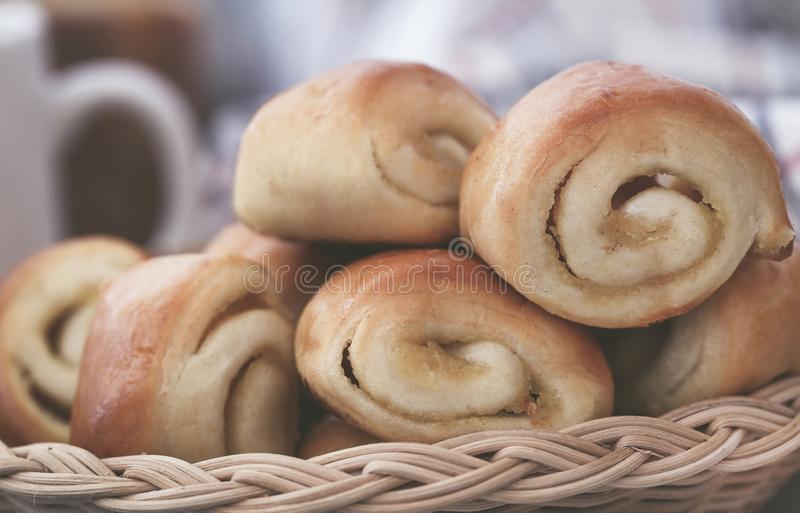 Rolled cinnamon bread. A popular snacks taking with coffee stock image