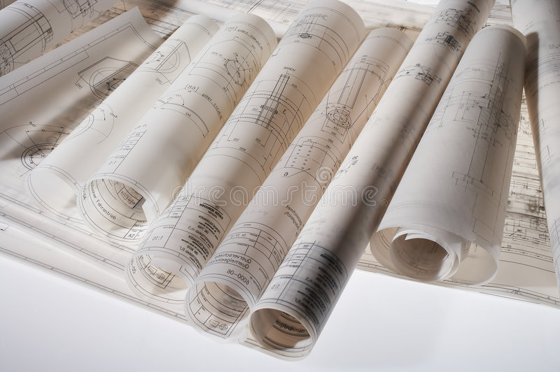 Download Rolled Construction Drawings Stock Image - Image: 2321011