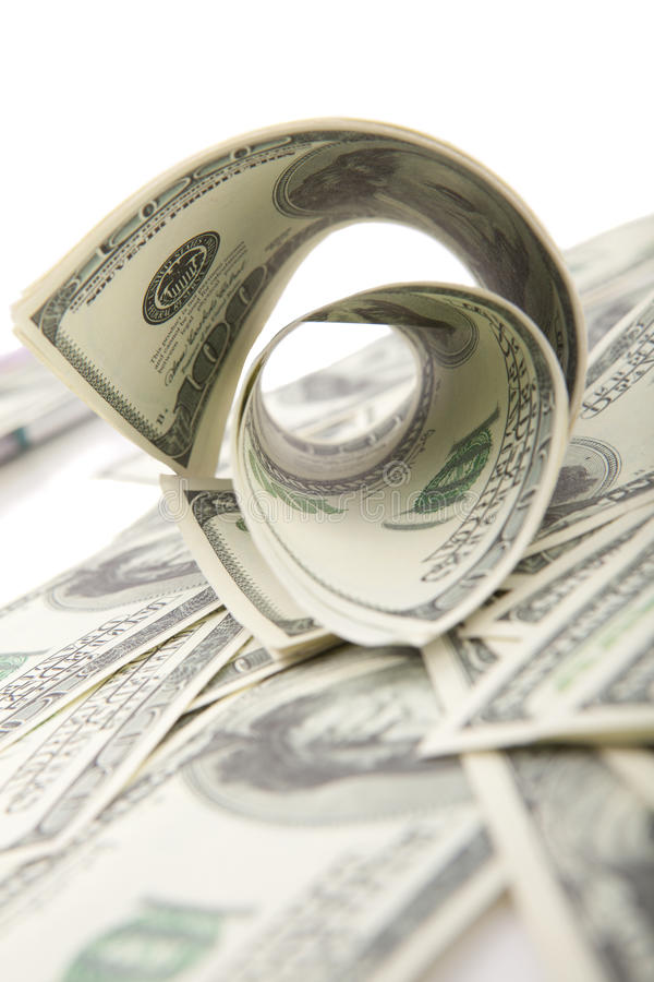 Download Rolled dollars on white stock image. Image of concepts - 25417807