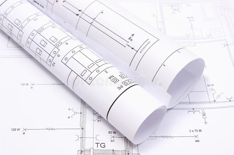 download rolled electrical diagrams on construction drawing of house stock image image of geometry