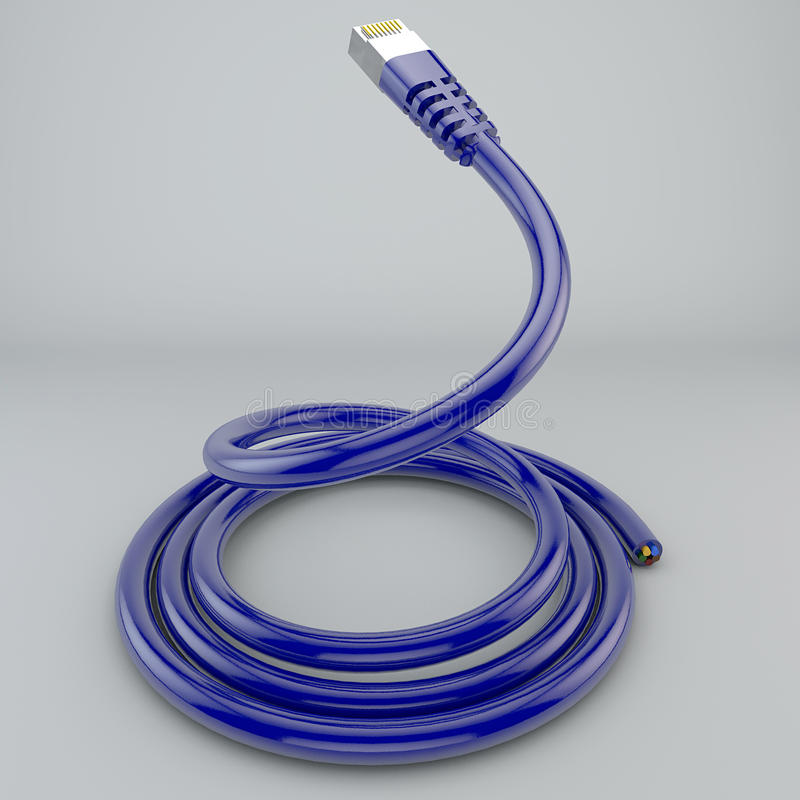 Rolled ethernet cable, internet connection, bandwidth, broadband. White background stock photos