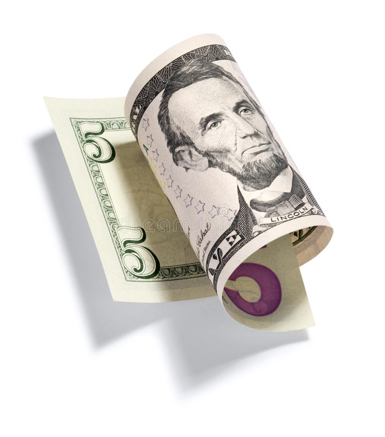 Rolled Five Dollar Bill stock photo