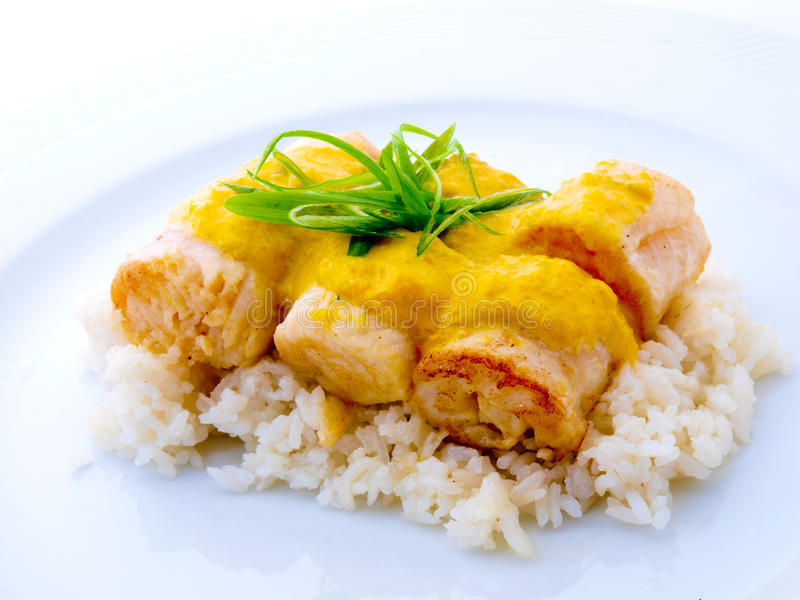 Rolled Gourmet Fish with Rice in White Plate royalty free stock image