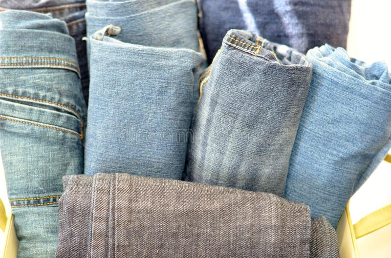 Rolled Jeans in Box II stock photography