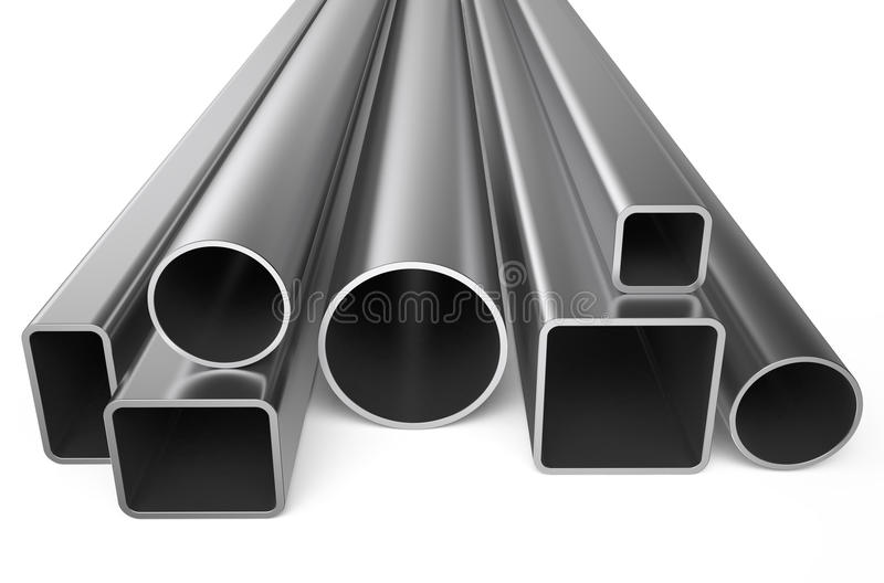 Rolled metal, assortment of square pipes. Isolated on white background stock illustration