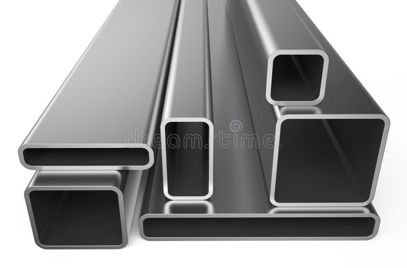 Rolled metal, assortment of square pipes. Isolated on white background royalty free illustration
