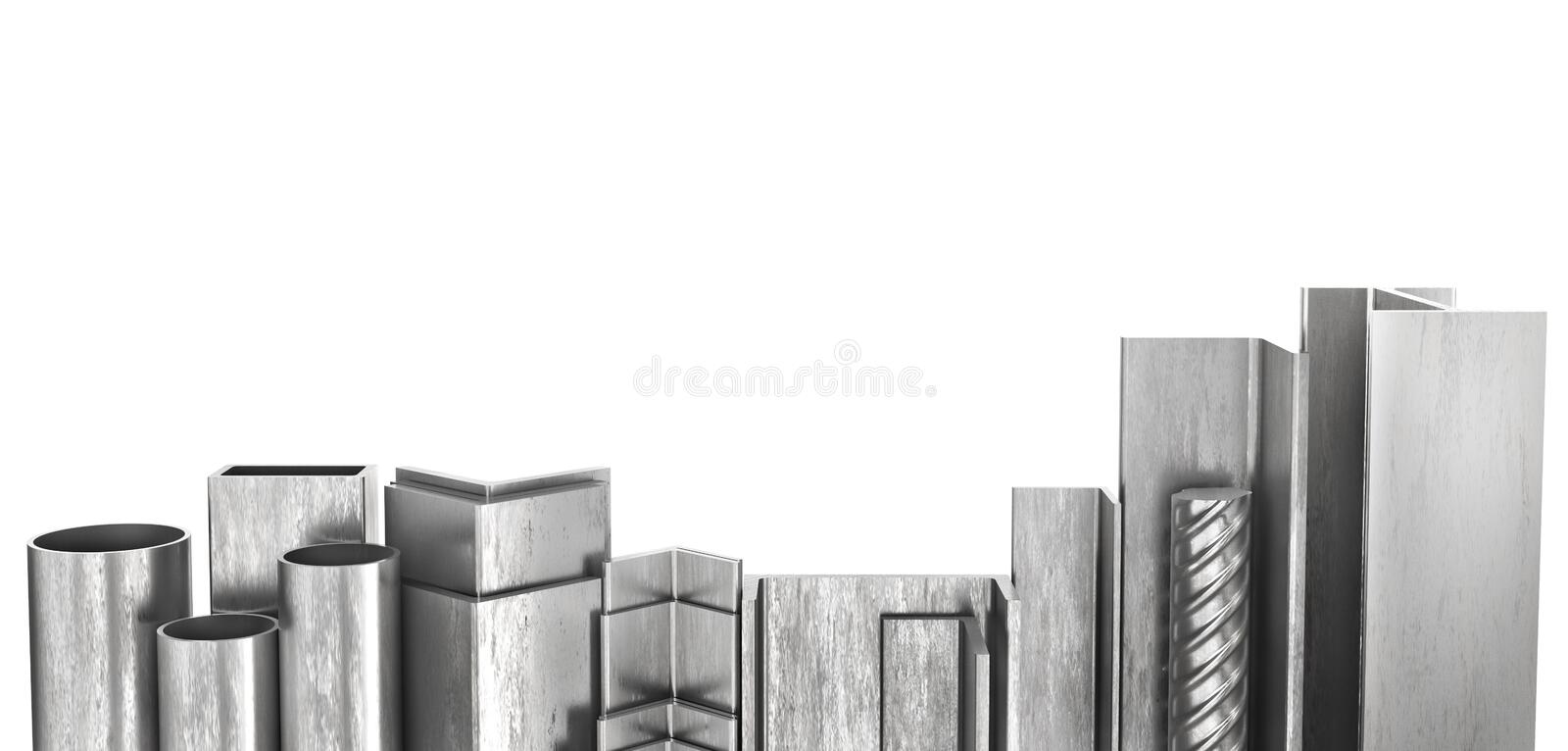 Rolled metal products. Steel profiles and tubes. 3d. Illustration royalty free illustration