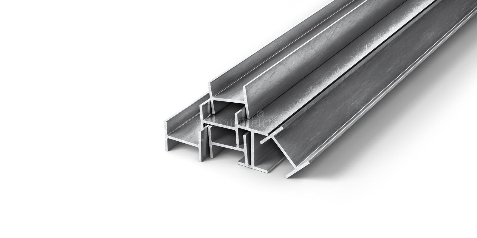 Rolled metal products. Steel profiles and tubes. vector illustration