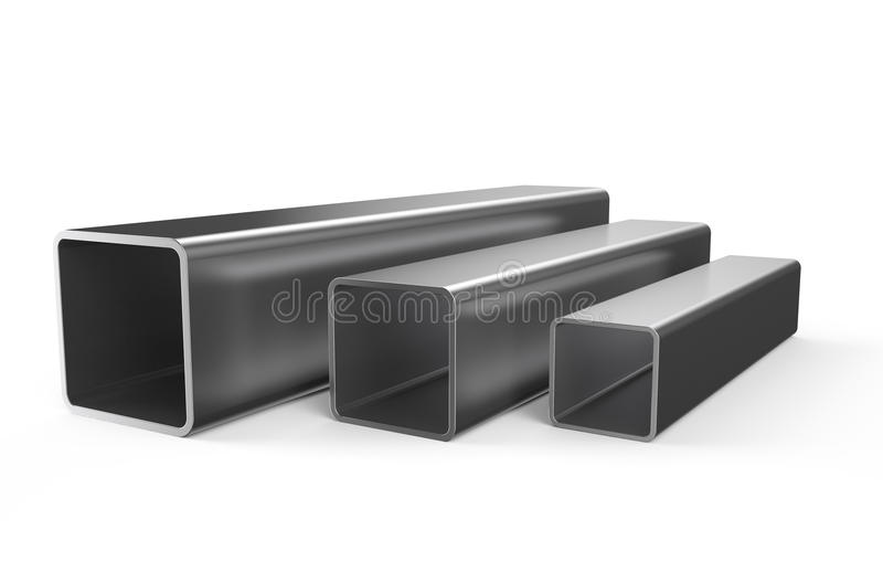 Rolled metal, square pipes. Isolated on white background stock illustration