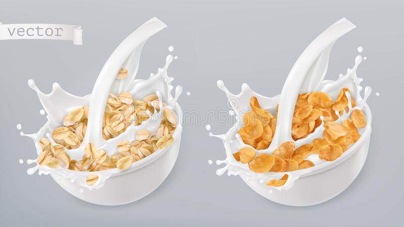 Rolled oats and milk splashes. Corn flakes. 3d vector icon set. Rolled oats and milk splashes. Corn flakes. 3d realistic vector icon set stock illustration