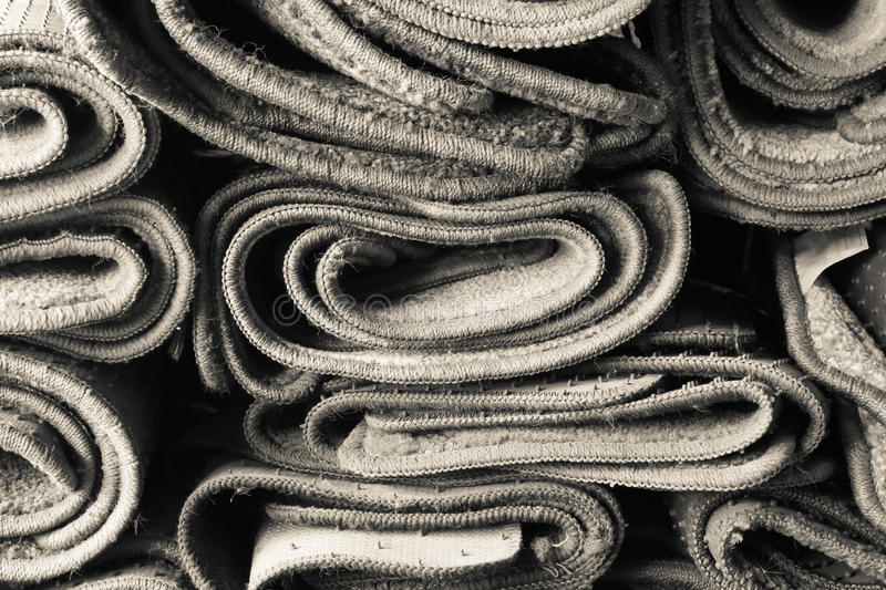 Rolled old carpet royalty free stock photography