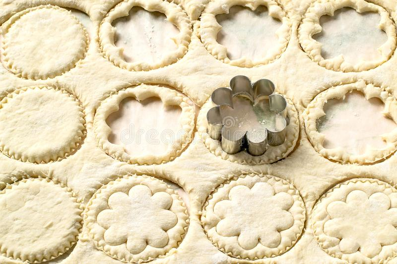 From rolled out dough cut figured cookies royalty free stock photos