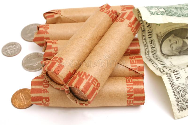 Download Rolled pennies & $1 bill stock photo. Image of dividends - 1930108