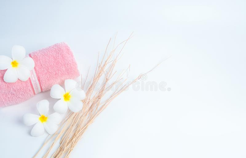 Rolled pink spa towel and .Frangipani flowers with branch on white background. Spa and wellness center of the hotel or resort. royalty free stock photography