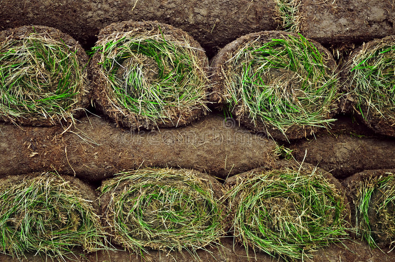 Rolled sod. Stack of rolled grass sod or turf for lawns and landscaping royalty free stock image
