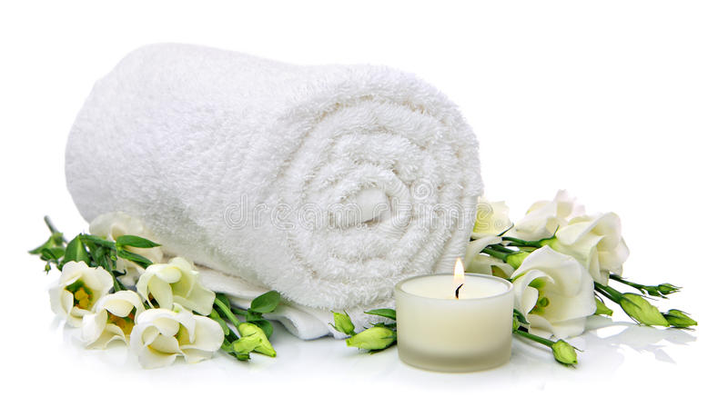 Download Rolled towel with flowers stock photo. Image of textile - 23782208