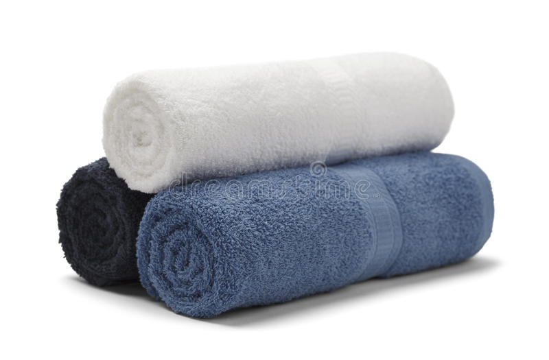 Rolled Towels. Three Rolled Towels Stacked Isolated on White Background royalty free stock photos