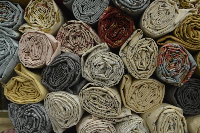 Quilting Fabric Rolls for avid craftsmen. Rolled up fabric used in Quilt making or other sewing crafts royalty free stock photography