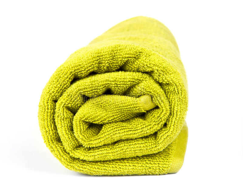 Rolled up green towel stock photos