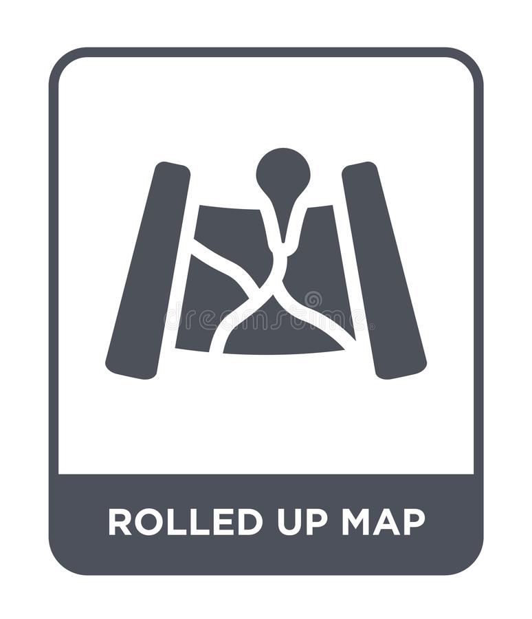 Rolled up map icon in trendy design style. rolled up map icon isolated on white background. rolled up map vector icon simple and. Modern flat symbol for web royalty free illustration