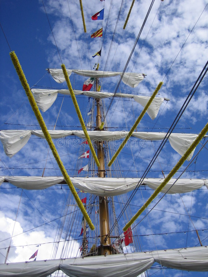 Rolled Up Sails stock photos