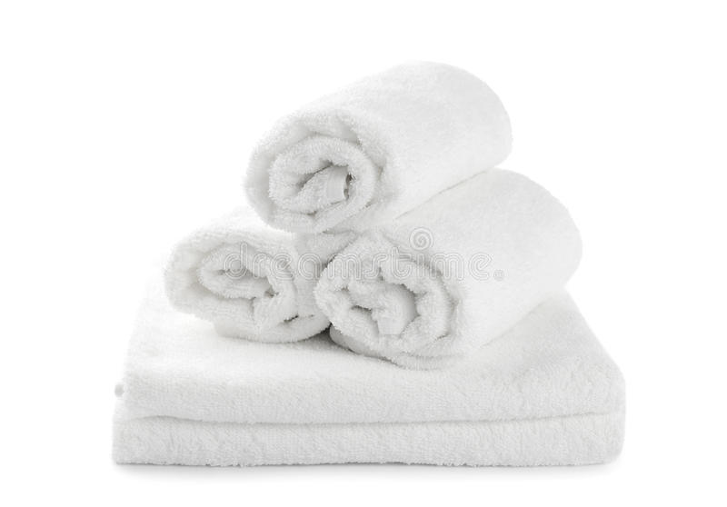 Rolled Up White Beach Towel Stock Image - Image: 33122453