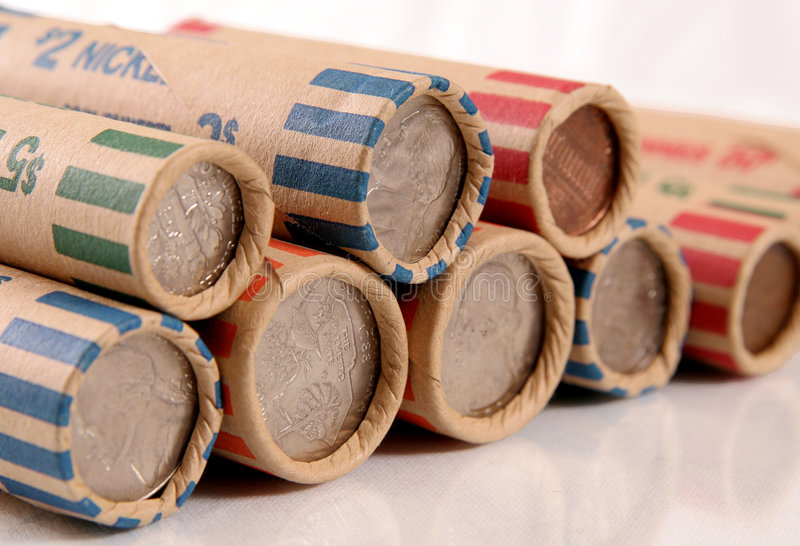 Rolled US Coins stock images