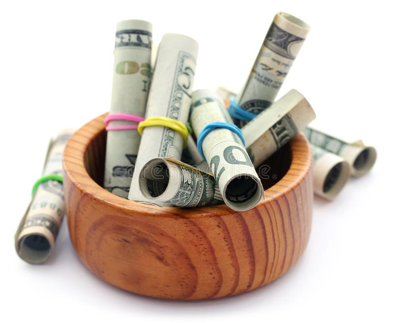 Rolled US Dollar royalty free stock photography