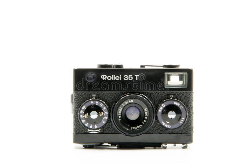 Rollei 35T葡萄酒照相机,一旦这是在白色背景隔绝的世界的一最小的35mm胶卷相机 库存照片