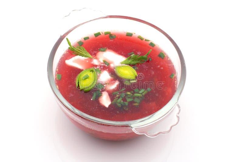 Rollen Sie mit Borshch, die russische Suppe, getrennt lizenzfreie stockfotos