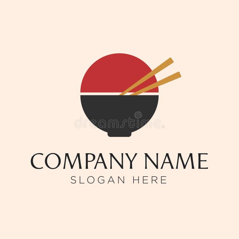 Rollen Sie mit den Nudellogoschablonen, die für irgendwie geschäftsverwandtes für Ramen, Nudeln, Schnellrestaurants, das koreanis vektor abbildung