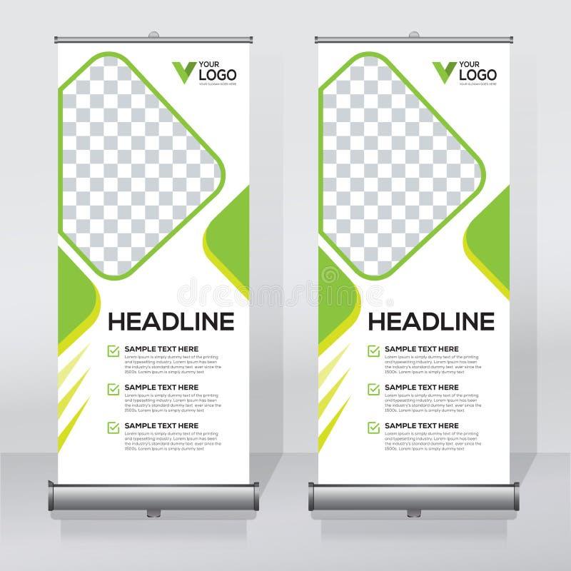 Rollen Sie oben Fahnendesignschablone, Vertikale, extrahieren Sie Hintergrund, ziehen Sie Design, moderne Xfahne, Rechteckgröße h lizenzfreie abbildung