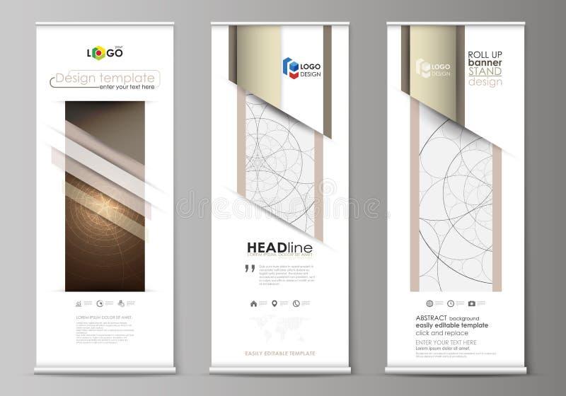 Rollen Sie oben Fahnenstände, flache Designschablonen, abstrakter geometrischer Stil, korporative vertikale Vektorflieger, Flagge lizenzfreie abbildung
