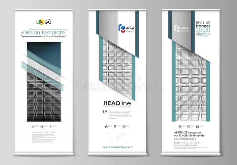 Rollen Sie oben Fahnenstände, flache Designschablonen, geometrischer Stil, korporative vertikale Vektorflieger, Flaggenpläne Ausz stock abbildung