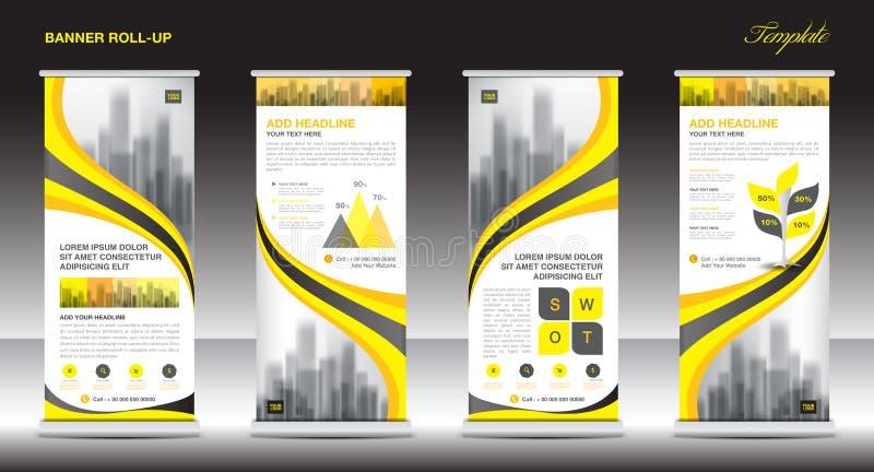Rollen Sie oben Fahnenstand-Schablonendesign, gelben Fahnenplan stock abbildung