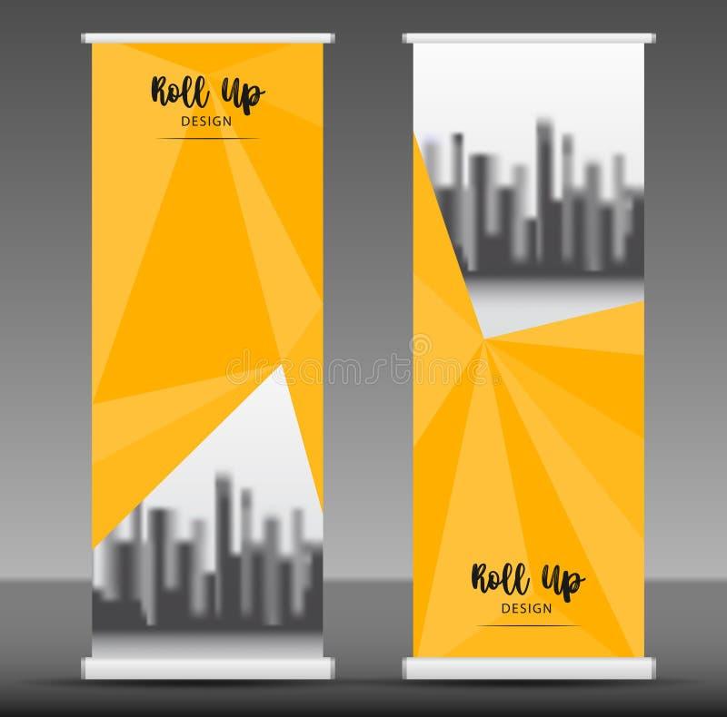 Rollen Sie oben Fahnenstand-Schablonendesign, gelben Geschäftsflieger vektor abbildung