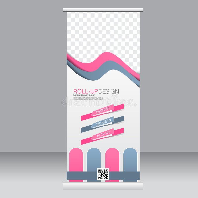 Rollen Sie oben Fahnenstandschablone Abstrakter Hintergrund für Design, Geschäft, Bildung, Anzeige Rosa und graue Farbe Vektor I vektor abbildung