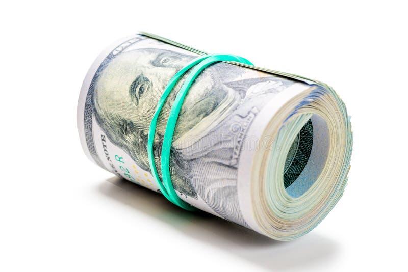 rollen Sie viel elastisches Band des Geldes auf Weiß lizenzfreies stockfoto