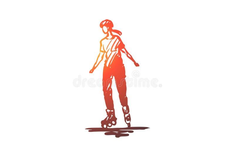 Rollen, vleet, sport, activiteit, meisjesconcept Hand getrokken geïsoleerde vector vector illustratie