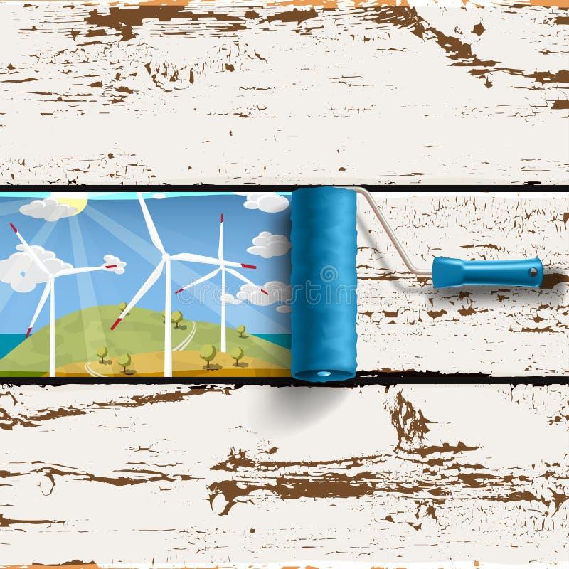 Rollenbürsten- und -Windkraftanlagelandschaft vektor abbildung