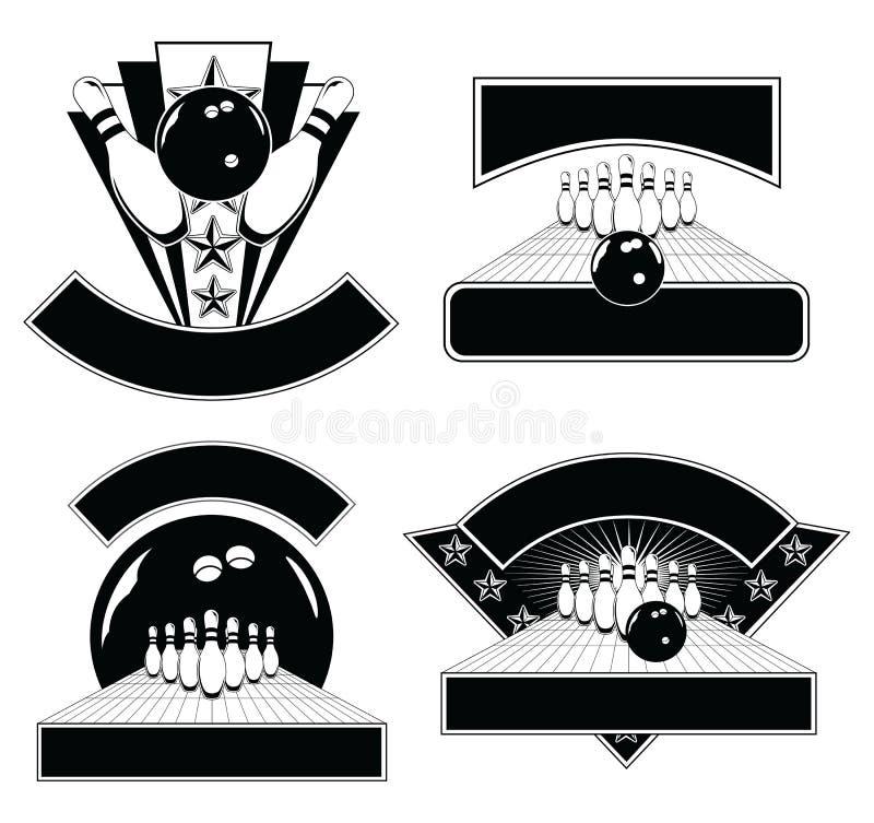 Rollende Auslegungs-Emblem-Schablonen lizenzfreie abbildung