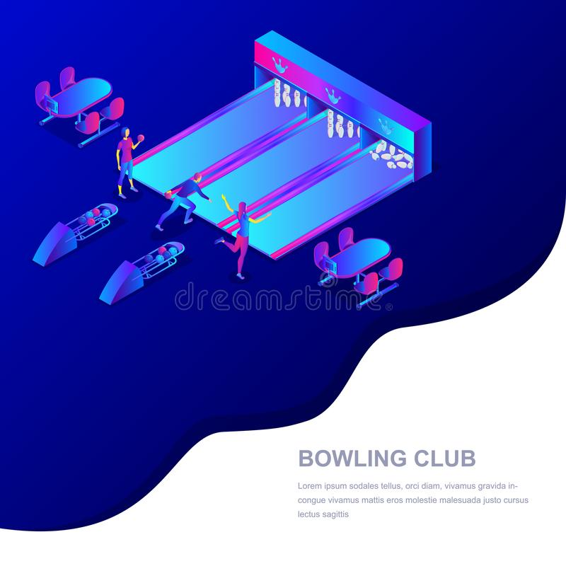 Rollende isometrische Illustration des Vereinvektors 3d Leute, die Bowlingspiel spielen Sportwettbewerb und Freizeitbetätigungsko vektor abbildung