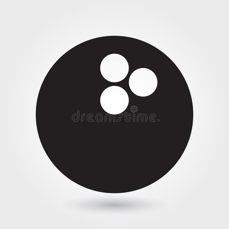 Rollende Vektorikone, Bowlingkugelikone, Sportballsymbol Moderner, einfacher Glyph, feste Vektorillustration stock abbildung