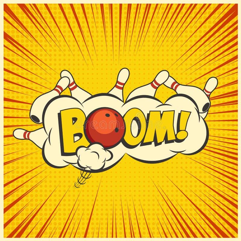 Rollender Schlag Vector gelbe Pop-Arten-Bowlingspielillustration auf einem Weinlesehintergrund stock abbildung