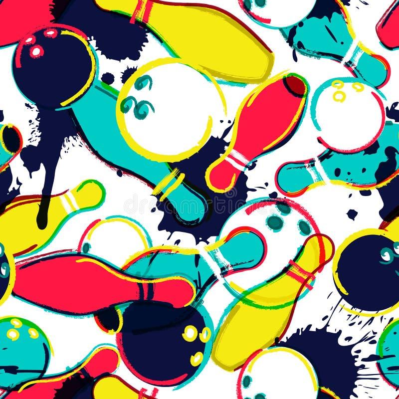 Rollendes nahtloses Muster des Vektors Bowlingkugel und Stifte vom Aquarellhintergrund Design für Modetextildruck lizenzfreie abbildung
